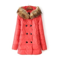 Double breasted hooded play Maomao collar length of cotton padded clothes wholesale clothing