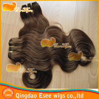 Sale:100%human hair virgin brazilian bodywave hair weave 4# mix 30#color 100g/pcs