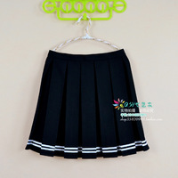 Sweet preppy style pleated skirt  bordered black short skirt bust skirt