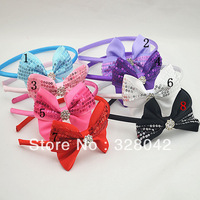 Trail order Sparkle Sequin bow grosgrain ribbon bows with rhinestone hairbands Baby kids Girl's hair accessories 30pcs/lot