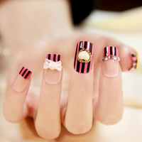 NEW 2013 fashion Vintage stripe nail art elegant 3d false nails finished products,24 pcs,free shipping