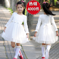 little girl dresses spring and autumn 2013 princess dress white tulle long-sleeve  puff skirt