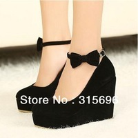 New Sexy Lady Red Black Bow Bowtie High Heels Womens Shoes Wedges Fashion Womens Pumps free shipping
