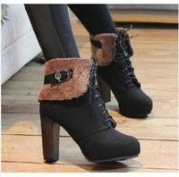 2013 winter women's snow boots female warm shoes scrub suede waterproof platform rivet strap buckle wedges boots xx418