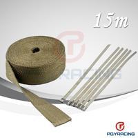 "PQY STORE- 2""x 50' Premium Exhaust Heat Wrap Manifold Wrap Titanium Lava Fiber  Thermal Heat Wrap+ 6 pcs Ties"