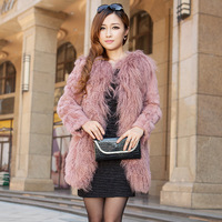 Fur coat  fur collar 100% wool 2013 Women medium-long long-sleeve  outerwear