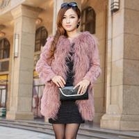Fur coat  fur collar 100% wool 2013 Women medium-long long-sleeve  outerwear