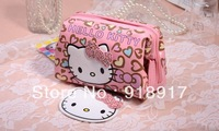 Free Shipping Hello Kitty Cosmetic Bag Zipper Make Up Box Storage Bags Organizer cosmetic case with Mirror love heart