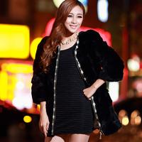 2014 medium-long full leather rabbit fur o-neck women's fur coat fashion