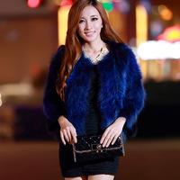 Free shipping O-neck fur raccoon fur fox fur short coat design fur Women three quarter sleeve