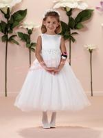 Free Shipping!Fashion2014 Jewel Neck Mid-calf three-dimensional Flower Fluffy Hem Satin Flower Girl First Holy Communion Dresses