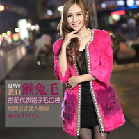 2013 slim three quarter sleeve fur coat medium-long Women o-neck rabbit fur