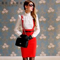 Lovable Secret - Basic shirt female long-sleeve 2013 white turtleneck lace slim waist female shirt  free shipping