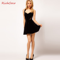 Free Shipping Velvet patchwork Women Dress one-piece dress