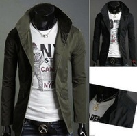 Male classic stand collar single breasted slim outerwear casual jacket