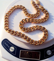 Men Solid 18k Y Gold Finish GF tremendous Thick 3mm Figaro Link Necklace Chain