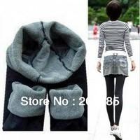 Free shipping 2013 women warm elasticity leggings ninth pointed bamboo black winter warm leggings women factory directly price
