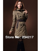 Large size 2013 new female winter clothing long trench coat women quilted jacket coat fat people clothes army/green, black XXXXL