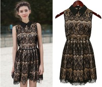 Free shipping cheap Summer new women's shirt collar sleeveless lace dress  #TC6038