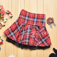 All-match plaid skirt pleated skirts gentlewomen lace decoration cake short skirt small fresh