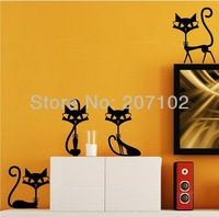 Freeshipping DIY wall fashion cartoon cat wall stickers wall decals 3 pcs/lot
