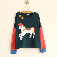 Unique neckline three-dimensional decoration triangle multicolour offset printing cartoon fleece sweatshirt women's