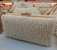 Free Shipping Custom Women Pearl Clutch Gold Chain Crystal Evening Bag Party Wedding Handbag Purse