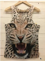 2013 New arrival! Fashion 3D sleeveless T shirt Top Print personality Leopard tiger monkey Men 3D Vest Freeshipping 3DBX001