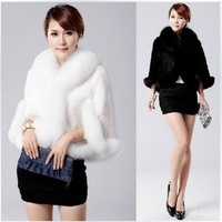 2012 sz winter faux fox fur rabbit hair female cloak outerwear