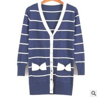 happy SZ Hitz striped cardigan sweater long section of single-breasted bow sweater  free  1   piece  FSY0003