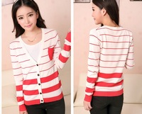 Korean version of Hitz Slim V-neck knit cardigan pocket retro striped long-sleeved cardigan ladies  free  1  piece KS009