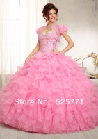 High Quality New Perfect Free jacket Sweetheart Beaded Organza Quinceanera Formal Prom Party Dress Custom Size Free shipping