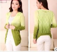 happy SZ New Slim Knit cardigan sweater gradient crochet lace female free 1  piece  ks005