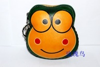 gift birthday handmade animal bag first layer of cowhide genuine leather coin purse cartoon wallet frog