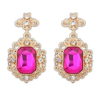 New Design Hot Sale Woman's Gold Metal Crystal Acrylic Purplish Red Square Drop Earring For Party Wholesale Free Shipping#101635