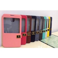 Leather one Window case for Samsung Galaxy Note3 Note 3 iii back cover N9000 9000 cases covers Free shipping