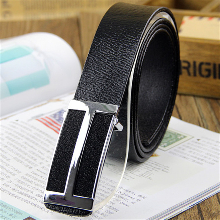 2013 new brand Fashion genuine Leather Premium H Shape Metal Mens strap man Buckle Belt men's belt black brown Free shipping(China (Mainland))