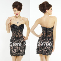High Quality New Mini Black Lace Appliques Beaded Sweetheart Party Cocktail Dresses Custom Size