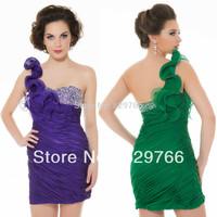 High Quality New Mini Purple Green Chiffon Party Formal Cocktail Dresses Custom Size