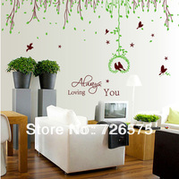 Large Wall Stickers Tree Branch Mural Stickers Lover Birds Always Loving You Words Quotes Decals Wedding Room Decor