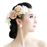 Colour bride raw silk flower hair accessory the wedding hair accessory hair accessory hairpin