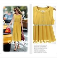 Free Shipping Fashion Women's dress pleated o-neck length sleeve one-piece dresses