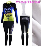 woman maillot for Winter! 2012 saxo bank Thermal Fleece Long Sleeved Cycling Jersey women+bib pants cycling clothing 06 ciclismo