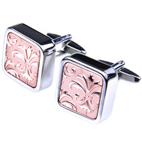 French shirt cufflinks square nail sleeve male decorative pattern of gold and silver three-color rose gold