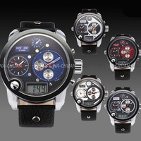 WEIDE Oversized XXL Army Military Men Leather Band Digital and Analog Sport Wrist Watch with EL light , Free Gift Box