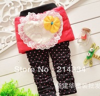 Wholesale free shipping baby new Love lace bow down thick leggings culottes girl culottes   children pants
