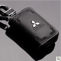 Free Shipping Genuine Leather Mitsubishi Key Wallet Pagerlo Lancer Outlander  Car Key Wallet Key Rings