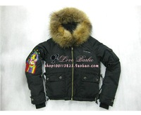 Free Shipping 2013 DS Brand Russian Fashion Leisure Sports Parrot Warm Raccoon Fur Embroidered Women's Down Jacket