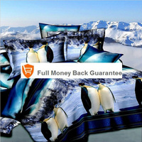 Penguin snow mountain 3d oil bedding set lovers bedclothes Full queen size Quilt/duvet/comforter cover bedspread linens sets