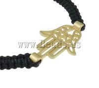 Free shipping!!!Zinc Alloy Shamballa Bracelets,high fashion, with Wax Cord & Lampwork, Hamsa, gold color plated, nickel